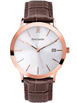 Montre homme Pierre Lannier dorée rose cuir brun