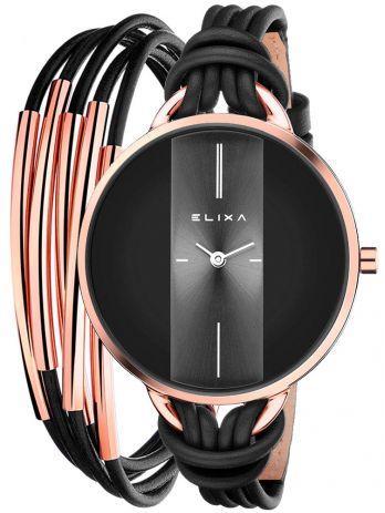 Coffret de montre femme Elixa dorée rose cuir noir