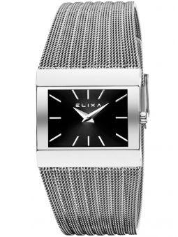 Montre femme Elixa rectangulaire fond noir bracelet milanais
