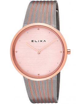Montre femme Elixa bracelet milanais dorée rose et acier