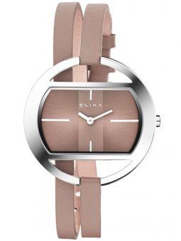 Montre femme Elixa design cuir beige bracelet double