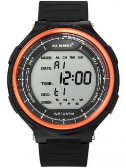 Montre homme All Blacks digitale lunette orange