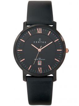 Montre homme Certus bracelet cuir noir index roses