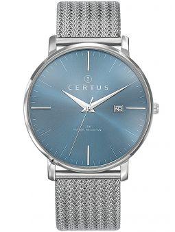 Montre homme Certus acier bracelet milanais fond bleu