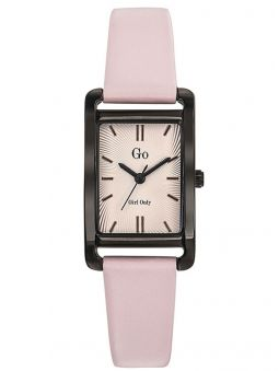 Montre femme Go bracelet cuir rose boite rectangle