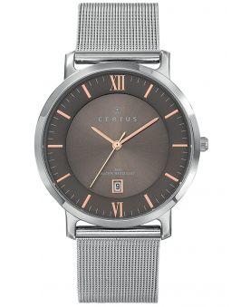 Montre homme Certus acier bracelet milanais fond gris