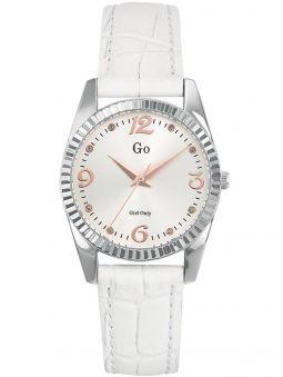 Montre femme Go métal blanc et bracelet cuir