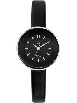 Montre femme Go bracelet cuir noir boite ronde