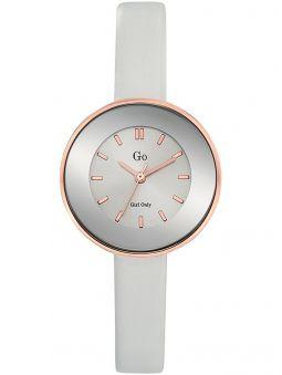 Montre femme Go bracelet cuir blanc boite ronde
