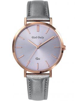 Montre femme Go bracelet cuir gris métallique gros diamètre