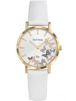 Montre femme Go bracelet cuir blanc cadran papillons