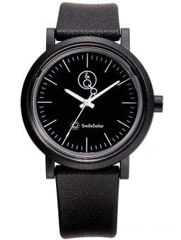Montre Q&Q solaire bracelet noir fond noir