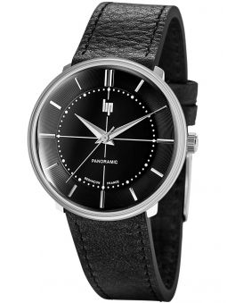 Montre LIP PANORAMIC cuir noir