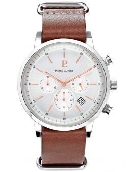 Montre homme Pierre Lannier bracelet cuir marron chronographe