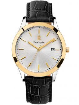 Montre homme Pierre Lannier dorée jaune cuir noir