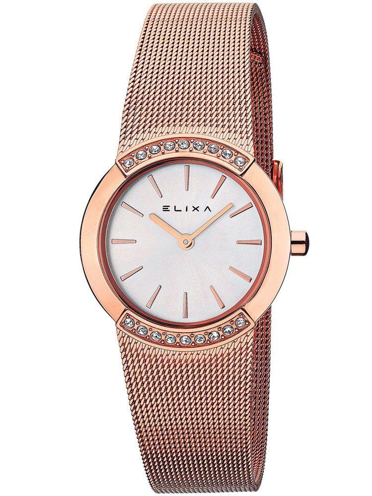 Montre femme Elixa tout acier doré rose bracelet milanais
