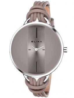 Coffret de montre femme Elixa acier et cuir beige