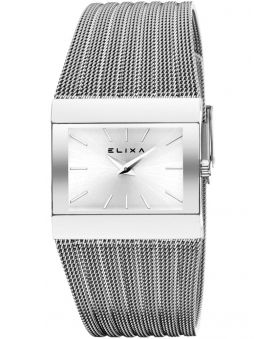 Montre femme Elixa rectangulaire fond blanc bracelet milanais
