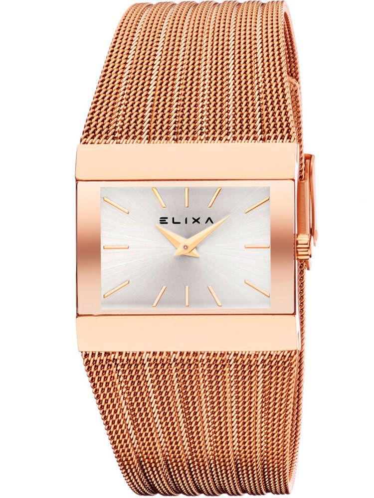 Montre femme Elixa rectangulaire doré rose bracelet milanais