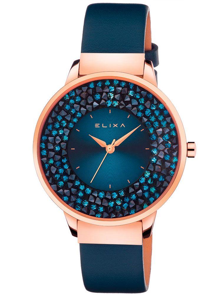 Montre femme Elixa cuir bleu et cristaux