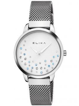 Montre femme Elixa acier et cristaux fond blanc
