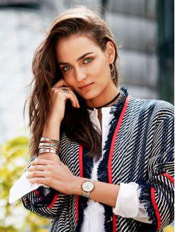 Montre femme Elixa bracelet milanais en acier bicolore