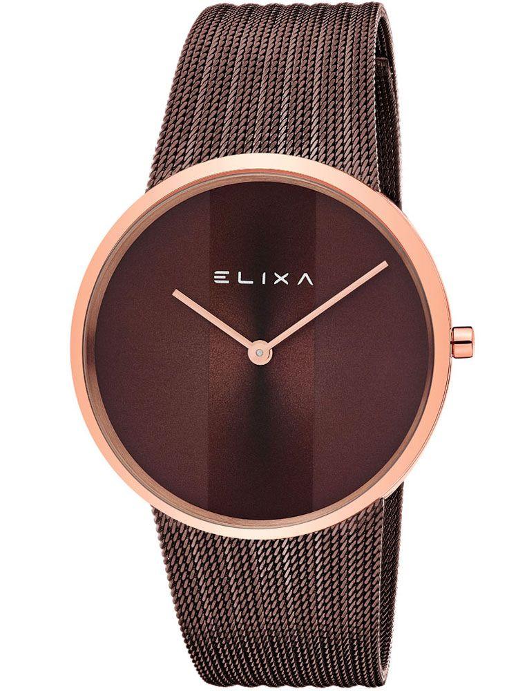 Montre femme Elixa chocolat bracelet milanais en acier