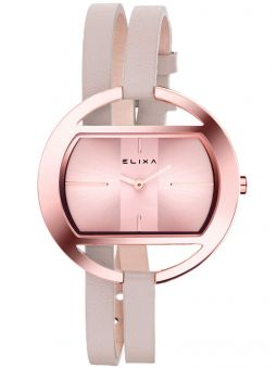Montre femme Elixa design cuir rose bracelet double