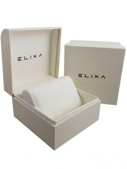 Montre femme Elixa cuir noir et cristaux