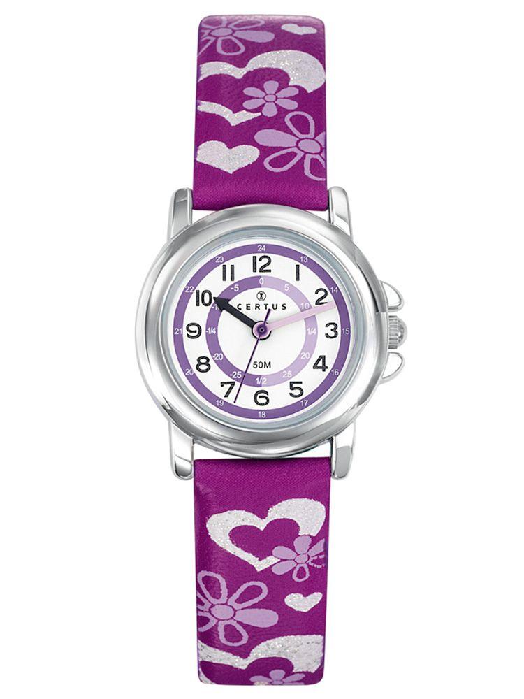 Montre enfant Certus violette coeurs et fleurs