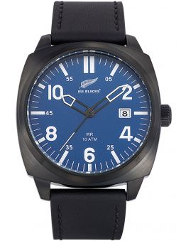 Montre homme All Blacks cuir noir fond bleu