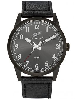 Montre homme All Blacks cuir noir index blancs