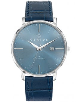 Montre homme Certus bracelet bleu façon croco