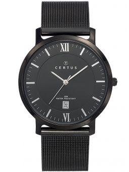 Montre homme Certus bracelet acier noir index argentés