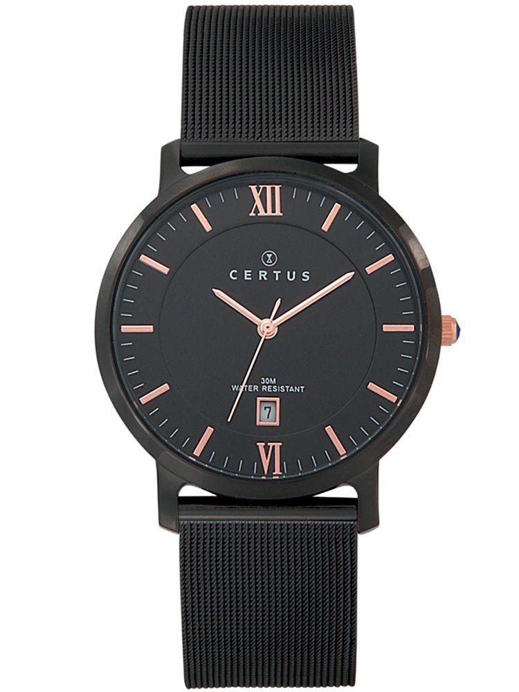 Montre homme Certus bracelet acier noir index roses
