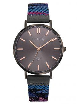 Montre femme Go bracelet tissu coloré fond gris