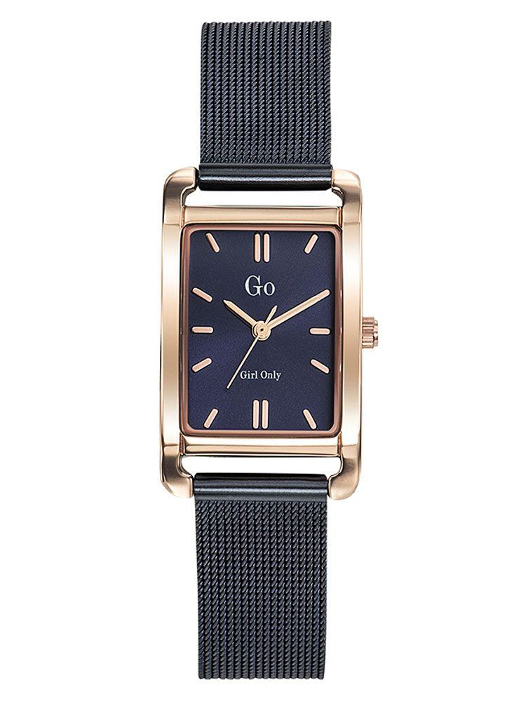 Montre femme Go rectangulaire bracelet milanais bleu