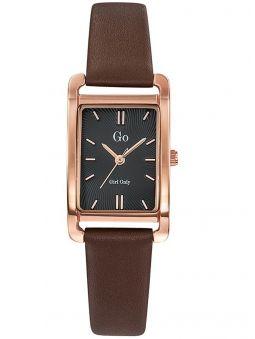 Montre femme Go bracelet cuir marron boite rectangulaire
