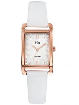 Montre femme Go bracelet cuir blanc boite rectangulaire