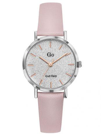 Montre femme Go bracelet cuir rose fond pailleté