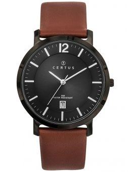 Montre homme Certus bracelet cuir brun index argentés