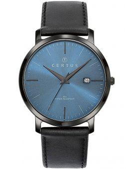 Montre homme Certus bracelet cuir noir fond bleu
