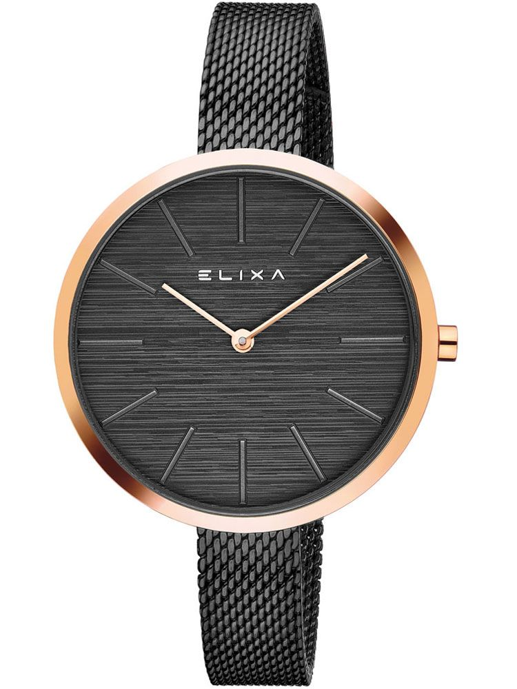 Montre femme Elixa acier PVD noir et bracelet milanais