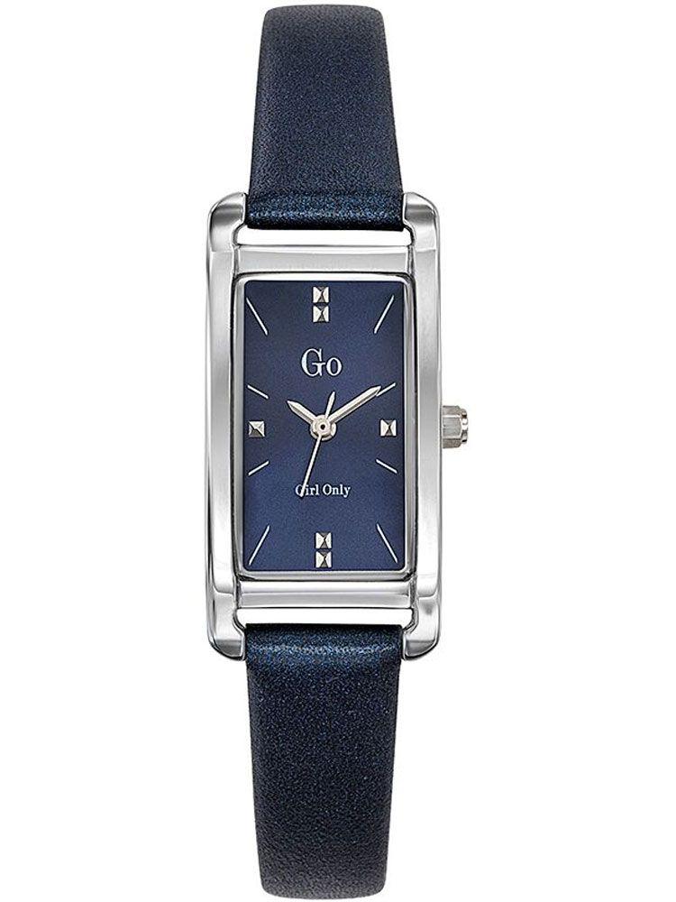 b2be0f3f4a4 Montre femme Go rectangulaire bracelet cuir bleu
