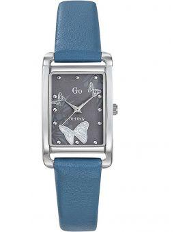 Montre femme Go rectangulaire bracelet cuir bleu
