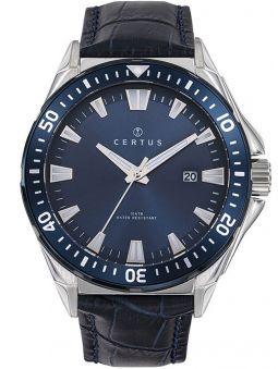 Montre homme Certus bracelet cuir bleu fond bleu