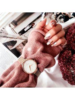Montre femme Pierre Lannier bracelet milanais rose cadran motif fleuri