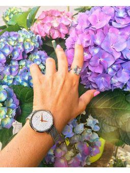Montre femme Pierre Lannier bracelet milanais cadran motif fleuri