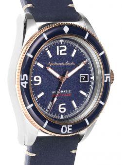 Montre homme SPINNAKER FLEUSS automatique bracelet bleu en cuir