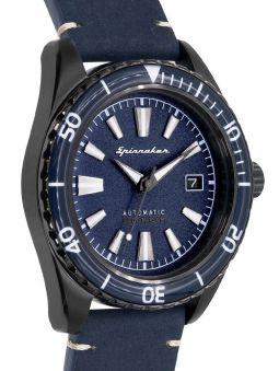 Montre homme SPINNAKER FLEUSS automatique bracelet en cuir bleu